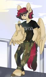 Size: 868x1453 | Tagged: artist needed, safe, oc, oc only, oc:porsche speedwings, anthro, pegasus, unguligrade anthro, belt, belt buckle, camo pants, clothes, cloud, cool, earbuds, fence, hands in pockets, horseshoes, leaning, leaning back, listening, looking at phone, pegasus oc, phone, shirt, simple background, solo, t-shirt, tool (band), watermark, wing hands, wings