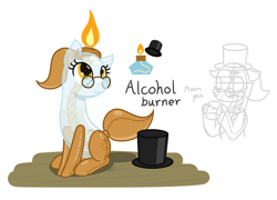 Size: 2148x1544 | Tagged: safe, artist:camo-pony, derpibooru exclusive, oc, oc only, object pony, original species, pony, alcohol burner, hat, ponified, simple background, sitting, solo, top hat
