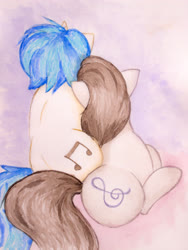 Size: 2809x3745 | Tagged: safe, artist:papersurgery, dj pon-3, octavia melody, vinyl scratch, earth pony, pony, unicorn, female, leaning, lesbian, lying down, mare, rear view, scratchtavia, shipping, sitting, traditional art, watercolor painting