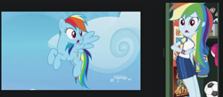 Size: 481x209 | Tagged: safe, rainbow dash, pegasus, pony, equestria girls, equestria girls series, sock it to me, spoiler:eqg series (season 2), google images, human ponidox, looking back, open mouth, self ponidox
