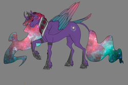 Size: 2082x1386 | Tagged: safe, artist:empressspacegoat, princess celestia, princess luna, oc, oc only, oc:nebula, alicorn, pony, colored wings, curved horn, ethereal mane, eyes closed, female, fusion, gray background, horn, jewelry, leonine tail, mare, multicolored wings, raised hoof, simple background, smiling, solo, tiara, unshorn fetlocks, wings