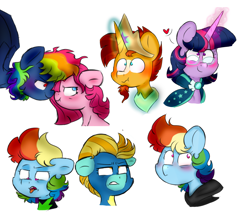 Size: 1404x1194 | Tagged: safe, artist:honneymoonmlp, derpibooru exclusive, lightning dust, pinkie pie, rainbow dash, sunburst, twilight sparkle, alicorn, earth pony, pegasus, pony, unicorn, secrets and pies, boop, cape, clothes, clothes swap, crown, evil pie hater dash, female, floating heart, glasses, heart, jewelry, lesbian, male, noseboop, peytral, pinkamena diane pie, pinkiedash, pinkiehater, regalia, scrunchy face, shipping, straight, tongue out, twiburst, uniform, washouts uniform, wonderbolts uniform