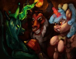 Size: 1600x1237 | Tagged: safe, artist:penny-wren, cozy glow, lord tirek, queen chrysalis, alicorn, centaur, changeling, changeling queen, the ending of the end, alicornified, antagonist, beard, cozycorn, crown, evil grin, eyebrows, facial hair, fangs, female, filly, glow, grin, horns, jewelry, magic, nose piercing, nose ring, piercing, race swap, regalia, smiling, textured, ultimate chrysalis, wings