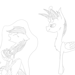 Size: 1000x1000 | Tagged: safe, artist:rainbow dash is best pony, rainbow dash, oc, oc:rainbow storm, alicorn, pegasus, pony, :t, candy, chest fluff, dragging, eyes closed, floppy ears, food, open mouth, rainbow factory dash, sketch, skittles, spread wings, wings