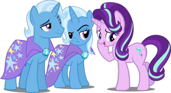 Size: 2847x1564 | Tagged: safe, artist:jeatz-axl, artist:pilot231, artist:whalepornoz, edit, editor:slayerbvc, vector edit, starlight glimmer, trixie, unicorn, blushing, cape, clothes, embarrassed, female, frown, half r63 shipping, implied shipping, implied startrix, jealous, looking back, male, mare, r63 paradox, raised eyebrow, rule 63, self ponidox, shipping, simple background, stallion, straight, transparent background, tristan, trixie's cape, vector