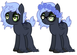 Size: 2500x1792 | Tagged: safe, artist:skulifuck, oc, oc only, oc:soft sighs, pegasus, pony, base used, duo, female, floral head wreath, flower, glasses, hoof fluff, mare, messy mane, multiple wings, pegasus oc, simple background, transparent background, wide eyes, wings