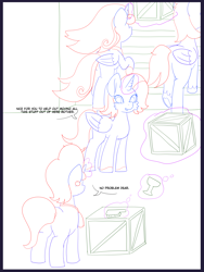 Size: 6000x8000 | Tagged: safe, artist:chedx, cookie crumbles, oc, oc:king speedy hooves, oc:princess mythic majestic, oc:queen galaxia, alicorn, pony, unicorn, comic:the other grandparents, alicorn oc, alicorn princess, basement, boxes, canterlot, canterlot castle, cologne, comic, commissioner:bigonionbean, cutie mark, dialogue, discussion, dust, female, flashback, fusion, fusion:king speedy hooves, fusion:princess mythic majestic, fusion:queen galaxia, hat, horn, husband and wife, magic, male, mother and child, mother and daughter, palindrome get, potion, sketch, sketch dump, spider web, stallion, table, wings, writer:bigonionbean