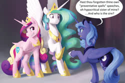 Size: 1996x1323 | Tagged: safe, artist:silfoe, princess cadance, princess celestia, princess luna, alicorn, pony, fanfic:a joke too far, alicorn triarchy, dialogue, female, grin, hoof shoes, implied pregnancy, jewelry, mare, peytral, raised hoof, redraw, royal sisters, s1 luna, scrunchy face, smiling, smirk, speech bubble, spread wings, tiara, trio, wings, ye olde butcherede englishe