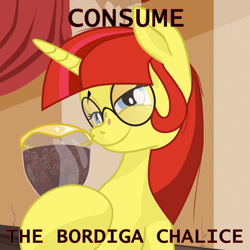Size: 2000x2000 | Tagged: safe, artist:aaronmk, oc, oc only, oc:lefty pony, amadeo bordiga, chalice, communism, consume the cum chalice, freckles, glasses, interior, meme, smiling, smug, spaghetti-o's, text, vector, yandere simulator
