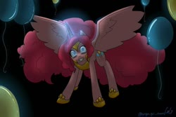 Size: 960x640 | Tagged: safe, artist:gingergaldraws, pinkie pie, alicorn, pony, alicornified, armor, balloon, black background, looking at you, nightmare pinkie, nightmarified, pinkiecorn, race swap, simple background, spread wings, wings, xk-class end-of-the-world scenario
