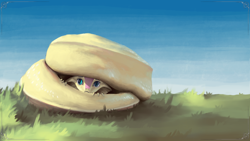 Size: 3840x2160 | Tagged: safe, artist:eqlipse, fluttershy, anthro, serpent, snake, :c, curled up, cute, female, fluttersnake, frown, grass, hiding, looking at you, painterly, peeking, scared, shy, shyabetes, sky, snek, solo, species swap, wallpaper, x-com