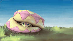 Size: 3840x2160 | Tagged: safe, alternate version, artist:eqlipse, fluttershy, anthro, serpent, snake, :c, curled up, cute, female, fluttersnake, frown, grass, hiding, looking at you, painterly, peeking, scared, shy, shyabetes, sky, snek, solo, species swap, wallpaper, x-com
