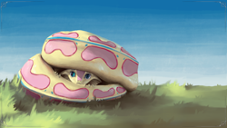 Size: 3840x2160 | Tagged: safe, alternate version, artist:eqlipse, fluttershy, anthro, serpent, snake, :c, curled up, cute, female, fluttersnake, frown, grass, hiding, looking at you, painterly, peeking, scared, shy, shyabetes, sky, snek, solo, species swap, viper, wallpaper, x-com