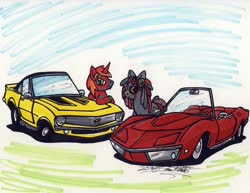 Size: 1024x789 | Tagged: safe, artist:sketchywolf-13, oc, oc only, earth pony, pony, unicorn, car, chevrolet, chevrolet camaro, chevrolet corvette, commission, duo, horn, male, stallion, traditional art