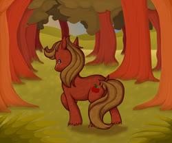 Size: 1200x1000   Tagged: safe, artist:seffiron, oc, oc:apricorn, earth pony, pony, earth pony oc, facing away, grass, male, offspring, parent:big macintosh, parent:fluttershy, parents:fluttermac, solo, stallion, tree
