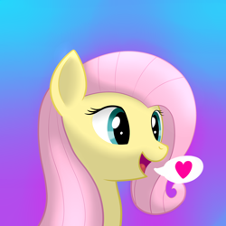 Size: 2600x2600 | Tagged: safe, artist:skbld, fluttershy, pegasus, pony, bust, cute, female, gradient background, heart, high res, mare, open mouth, pictogram, portrait, shyabetes, smiling, solo, speech bubble, three quarter view