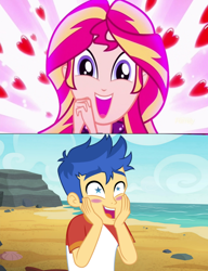 Size: 2936x3832 | Tagged: safe, edit, screencap, flash sentry, sunset shimmer, eqg summertime shorts, equestria girls, equestria girls series, pet project, spring breakdown, spoiler:eqg series (season 2), crossing the memes, female, flashimmer, male, meme, shimmering the gecko, shipping, shipping domino, starry eyes, straight, wingding eyes