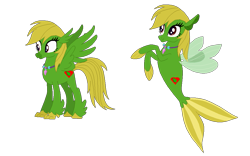 Size: 1023x637 | Tagged: safe, artist:optimusv42, oc, oc only, oc:jungle heart, hippogriff, sea pony, seapony (g4), friendship troopers, hippogriffied, my little pony friendship troopers, seaponified, simple background, solo, species swap, transparent background