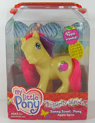 Size: 463x600 | Tagged: safe, photographer:breyer600, apple spice, earth pony, pony, female, g3, mare, official, packaging, simple background, sunny scent pony, toy, white background