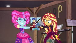 Size: 1920x1080 | Tagged: safe, edit, edited screencap, screencap, flash sentry, kiwi lollipop, sunset shimmer, best trends forever, equestria girls, equestria girls series, sunset's backstage pass!, spoiler:eqg series (season 2), electric guitar, female, flashimmer, geode of empathy, guitar, k-lo, kiwisentry, magical geodes, male, music festival outfit, musical instrument, shipping, straight