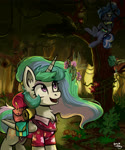 Size: 2500x3000   Tagged: safe, artist:amy-gamy, princess celestia, princess luna, alicorn, breezie, fairy, fairy pony, original species, pony, between dark and dawn, bag, bags, chest fluff, clothes, crossed hooves, ear fluff, female, forest, high res, mare, open mouth, royal sisters, scenery, shirt, smiling