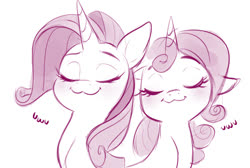 Size: 1254x843 | Tagged: safe, artist:imalou, rarity, sweetie belle, pony, unicorn, /mlp/, 4chan, :3, belle sisters, blushing, bust, cute, diasweetes, drawthread, duo, eyes closed, female, filly, floppy ears, mare, monochrome, owo, portrait, raribetes, siblings, simple background, sisters, smiling, text, uwu, white background