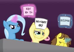 Size: 1024x722 | Tagged: safe, artist:grapefruitface1, fluttershy, trixie, oc, oc:grapefruit face, pegasus, unicorn, angry, base used, deviantart, deviantart eclipse, facehoof, music judges meme, protest, sign, signs, unimpressed