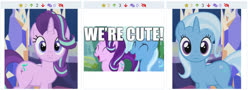 Size: 1491x538 | Tagged: safe, artist:agrol, edit, edited screencap, screencap, starlight glimmer, trixie, pony, unicorn, derpibooru, caption, cropped, cute, diatrixes, female, friendship throne, frown, glimmerbetes, image macro, juxtaposition, juxtaposition win, looking at you, magic lessons, mare, meme, meta, text, trixie yells at everything, twilight's castle