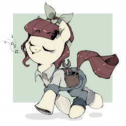 Size: 2381x2381 | Tagged: safe, artist:crossicatrix, torque wrench, earth pony, pony, rainbow roadtrip, clothes, cute, desaturated, eyes closed, female, mare, overalls, solo, tools, whistling