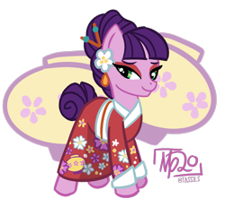 Size: 1235x1142 | Tagged: safe, artist:tassji-s, kimono, earth pony, pony, clothes, cute, g3, g3 to g4, generation leap, kimono (clothing), simple background, solo, transparent background