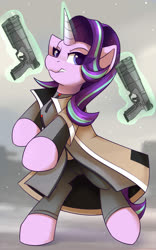 Size: 1250x2000 | Tagged: safe, artist:shadowreindeer, starlight glimmer, android, pony, robot, unicorn, detroit, detroit: become human, female, glowing horn, gun, handgun, horn, magic, mare, markus, maxim 9, solo, weapon