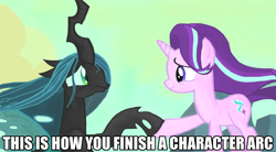 Size: 1280x707 | Tagged: safe, edit, edited screencap, screencap, queen chrysalis, starlight glimmer, changeling, changeling queen, pony, unicorn, to where and back again, a better ending for chrysalis, acceptance, adorkable, alternate ending, alternate scenario, alternate universe, anxiety, apology, awkward, breakdown, caption, character development, colored, cute, cutealis, defeated, dork, dorkalis, duo, fear, female, frown, good end, happy, image macro, mare, meme, meta, nervous, precious, redemption, reformed, regret, sad, sadorable, scene interpretation, silly, silly pony, smiling, sorry, text, unsure, what if