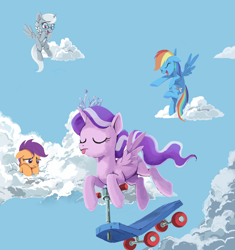 Size: 1260x1340 | Tagged: safe, artist:gluemakers, diamond tiara, rainbow dash, scootaloo, silver spoon, alicorn, pony, alicornified, cloud, eyes closed, floppy ears, out of character, race swap, sad, scootalone, scootasad, scooter, silvercorn, tiaracorn, tongue out