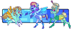 Size: 2380x985 | Tagged: safe, artist:spudsmcfrenzy, lightning dust, rainbow dash, zephyr breeze, pony, bandage, colored wings, multicolored wings, simple background, transparent background, wings