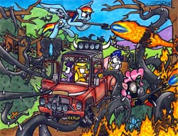 Size: 3299x2534 | Tagged: safe, artist:sketchywolf-13, applejack, fluttershy, pinkie pie, rainbow dash, rarity, twilight sparkle, princess twilight sparkle (episode), canis bodhi, car, cutie mark, driving, everfree forest, fire, flamethrower, grand theft auto, horn, kill it with fire, mane six, plant, poison joke, pyro, pyromaniac, shocked, some mares just want to watch the world burn, team fortress 2, traditional art, tree, weapon, wings