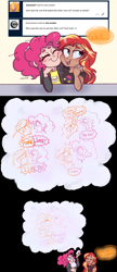 Size: 1280x2950 | Tagged: safe, artist:ask-sunpie, artist:wimsie, pinkie pie, sunset shimmer, human, tumblr:ask sunpie, ..., ask, bisexual pride flag, clothes, comic, confession, dialogue, female, humanized, jacket, lesbian, nuzzling, onomatopoeia, pinkie being pinkie, ponytail, pride, pride flag, shipping, shirt, sound effects, sunsetpie, thought bubble