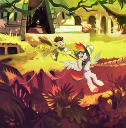 Size: 1500x1523 | Tagged: safe, artist:dearmary, rainbow dash, oc, oc:skittle, pegasus, pony, canon x oc, female, male, ruins, shipping, skidash, straight