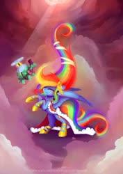 Size: 1024x1449 | Tagged: safe, artist:wilvarin-liadon, rainbow dash, tank, pegasus, pony, clothes, cloud, crepuscular rays, cute, dashabetes, dress, duo, eyes closed, female, gala dress, hat, mare, rearing, top hat