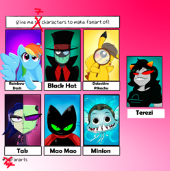 Size: 3276x3300 | Tagged: safe, artist:flipsy529, rainbow dash, cat, fish, pegasus, pikachu, pony, six fanarts, black hat (villainous), crossover, detective pikachu, female, gradient background, grin, hat, homestuck, horn, invader zim, magnifying glass, male, mao mao, mao mao: heroes of pure heart, mare, megamind, necktie, pokémon, red eyes, smiling, terezi pyrope, top hat, villainous