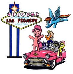 Size: 1024x1043 | Tagged: safe, artist:sketchywolf-13, applejack, fluttershy, pinkie pie, rainbow dash, rarity, twilight sparkle, oc, oc:sketchy, earth pony, pegasus, pony, unicorn, cadillac, car, cutie mark, female, horn, las pegasus, male, mane six, mare, pink, signboard, stallion, tail, traditional art, wings