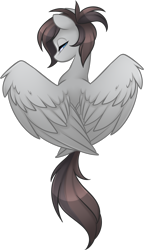 Size: 1416x2456 | Tagged: safe, artist:scarlet-spectrum, oc, oc only, oc:fahrenheit, pegasus, pony, bust, facing away, female, lidded eyes, looking at you, looking back, looking back at you, mare, ponytail, rear view, simple background, solo, spread wings, transparent background, wing fluff, wings, ych result