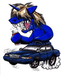 Size: 1024x1259 | Tagged: safe, artist:sketchywolf-13, oc, oc only, oc:colt .45, pony, unicorn, alcohol, beer, beer can, car, commission, ford, ford crown victoria, horn, male, messy mane, rat fink, sharp teeth, simple background, smoke, solo, stallion, teeth, traditional art, white background