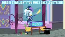 Size: 1280x720 | Tagged: safe, edit, edited screencap, screencap, spike, spike the regular dog, trixie, dog, equestria girls, street magic with trixie, spoiler:eqg series (season 2), caption, female, image macro, implied sparlight, implied starlight glimmer, male, meme, shipping, spixie, straight, text, trixie yells at everything