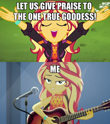 Size: 640x720 | Tagged: safe, edit, edited screencap, screencap, sunset shimmer, equestria girls, equestria girls series, let it rain, sunset's backstage pass!, spoiler:eqg series (season 2), acoustic guitar, beautiful, cute, goddess, guitar, looking at you, microphone, musical instrument, narcissism, raised arms, shimmerbetes, solo, truth, worship