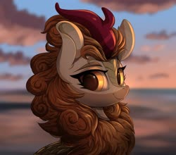 Size: 1566x1379 | Tagged: safe, artist:ask-colorsound, autumn blaze, kirin, pony, awwtumn blaze, blurred background, bust, chest fluff, cloud, cute, female, looking at you, mare, portrait, sky, smiling, solo