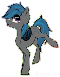 Size: 2128x2713 | Tagged: safe, artist:lux-arume, oc, oc only, oc:nocturne star, bat pony, pony, bat pony oc, bat wings, big eyes, blue mane, cute, grey fur, happy, jumping, purple eyes, simple background, smiley face, solo, transparent background, wings