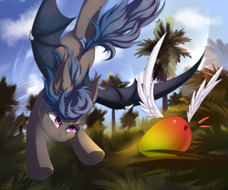 Size: 1700x1415 | Tagged: source needed, safe, artist:magic balance, oc, oc:nocturne star, bat pony, bat pony oc, bat wings, blue mane, chase, flying, food, forest, forest background, grass, grass field, grey fur, mango, purple eyes, tree, tropical, wings