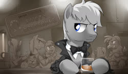 Size: 1400x813 | Tagged: source needed, safe, artist:doomy, oc, oc:jonathan bleak, earth pony, griffon, pony, unicorn, alcohol, bar, blue eyes, bowtie, clothes, coat, earth pony oc, gray coat, handsome, ice, male, mug, pub, s.t.a.l.k.e.r., scowl, stallion, wallpaper, white mane, wine