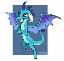 Size: 1691x1612 | Tagged: safe, artist:aanotherpony, princess ember, dragon, blue background, claws, crossed arms, dragoness, female, flying, horns, looking at you, narrowed eyes, orange eyes, raised eyebrow, simple background, slit eyes, solo, spread wings