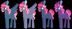 Size: 993x411 | Tagged: safe, artist:greyestgray, oc, oc:frosting sprinkles, earth pony, pegasus, pony, unicorn, offspring, parent:pinkie pie, parent:pokey pierce, parents:pokeypie, simple background, transparent background